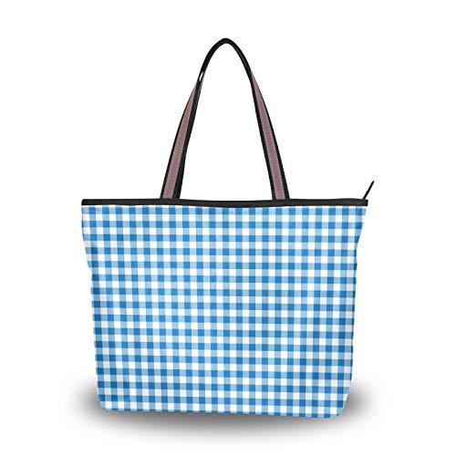Monedero de mantel blanco azul, bolsos de compras, bolso de mano con correa ligera, bolsos de hombro para mujeres, niñas, estudiantes