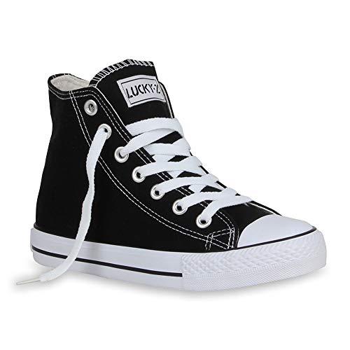 stiefelparadies Damen Sneakers High Top Kult Sport Schnürer Schuhe 54398 Schwarz Ambler 37 Flandell