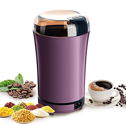 NEWFLOW Molinillo de café eléctrico, cuchillas de acero inoxidable con cámara extraíble, capacidad de 3 oz con botón de encendido / apagado fácil portátil para cocina o viaje (Púrpura)
