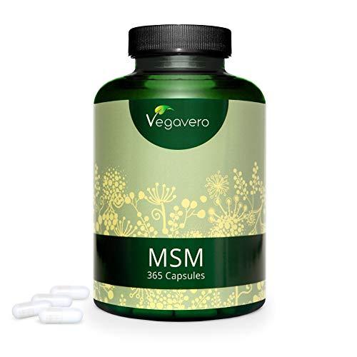 MSM 99.9% Puro Vegavero® | 365 Cápsulas | Ahora Dosis Más Alta: 2000 mg | Sin Aditivos | Testado en Laboratorio | Antiinflamatorio + Dolor Espalda + Articulaciones
