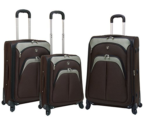 TPRC 3 Piece 'Lexington Collection' Expandable Luggage Set with 360º Wheels Includes 28' Suitcase, 24' Upright, and 20' Carry-On, Espresso Color Option