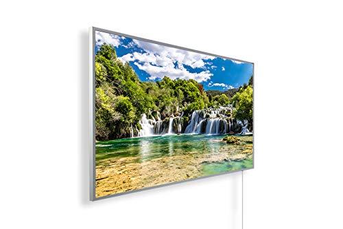 Bildheizung Infrarotheizung mit Digitalthermostat für Steckdose - 5 Jahre Herstellergarantie- Elektroheizung mit Überhitzungsschutz (Wasserfall Kroatien Krka Nationalpark;1000W)