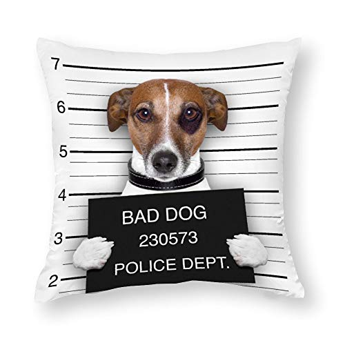 Wanted Dog Holding A Gun with A BannerFashion Soft microfibra decorativa funda de almohada de 45 x 45 cm