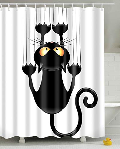 Leashy Cortina de Ducha Impermeable con impresión Divertida de Gatos, a Prueba de Moho, con Ganchos (Gato Negro, 150x180)