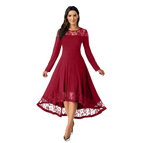 GOKOMO Damen Casual Solide Lace Splice Langarm Plus Size Tägliches Strand Langes Kleid Frauen Plus Size Volltonfarbe Langarm Ausschnitt Kleid Maxi-Kleid(Rot,Large)