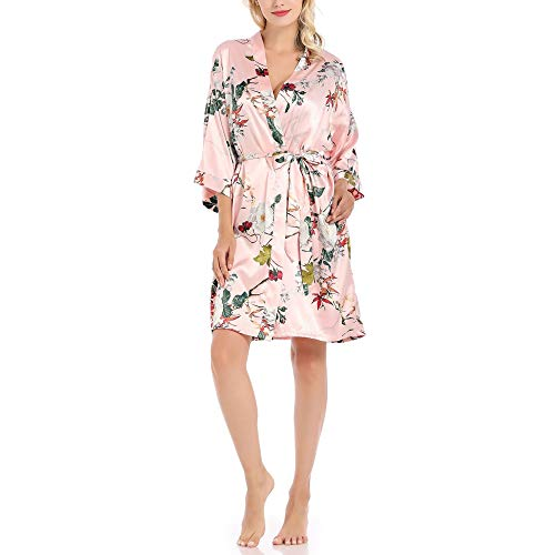 Frauen rosa Seide Bademantel, Damen Satin sexy Pyjama, V-Ausschnitt Blumen Braut Morgenkleid, komfortable Hotel Bademantel japanischen KimonopinkS