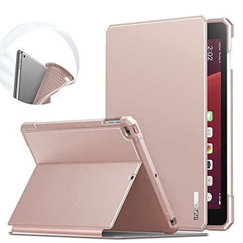 INFILAND Hülle für iPad 9,7 2018/2017, (6. Generation/ 5. Generation), iPad Air/Air 2, TPU Halten Anti-Fall-Ledertasche mit Auto Schlaf/Wach Funktion,Rosa