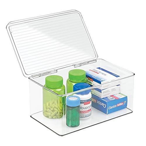 mDesign organizador de maquillaje con tapa abatible - Cajonera plástico multiusos ideal para guardar sus vitaminas, medicamentos, cosméticos o cremas