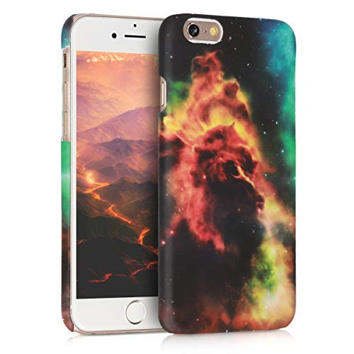 kwmobile Hülle kompatibel mit Apple iPhone 6 / 6S - Handy Hülle Handyhülle - Backcover Hardcover Cover Schutzhülle - Galaxie Nebel Orange Dunkelblau Schwarz