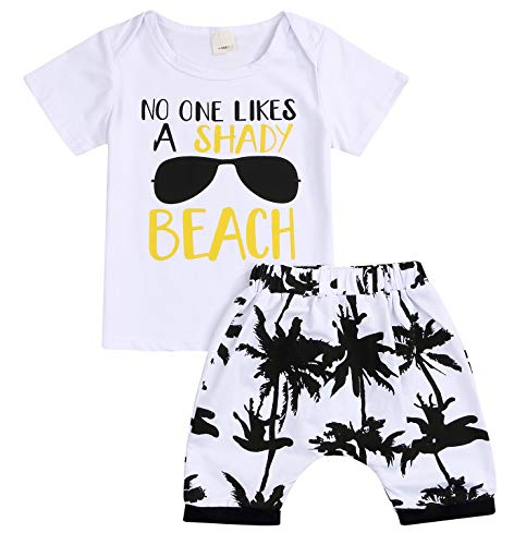 YOUNGER STAR Baby Boys Girls Short Sleeve Shady Beach Glasses Shirt Summer Clothes and Palm Shorts Set