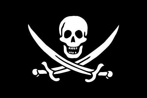 "TrendClub100® Fahne Flagge ""Pirat Piraten Jolly Roger, Jack Rackham"" - 150x90 cm / 90x150cm"