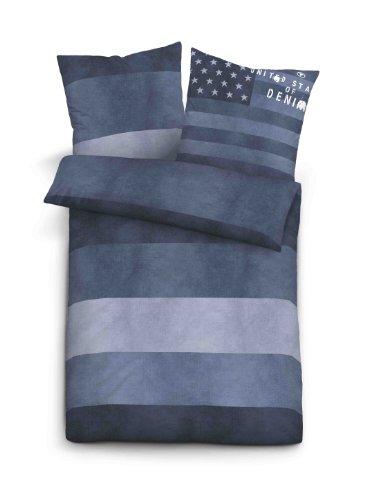 TOM TAILOR 0049467 Bettwäsche Garnitur mit Kopfkissenbezug Linon 1x 135x200 cm + 1x 80x80 cm indigo blue