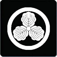 家紋 捺印マット 丸に三つ柏紋 11cm x 11cm KN11-0581W 白紋