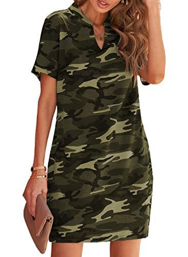 Blibea Women's Camo Print V-Neck Ruffle Short Sleeve Camo Print Summer Casual Dresses Medium Green