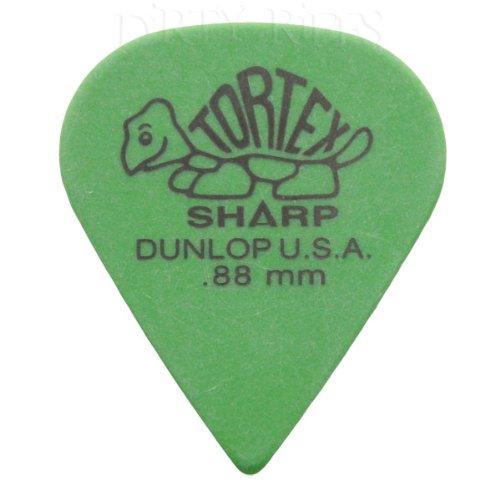 12 x Púas para guitarra presentadas Dunlop Tortex Sharp/púas - 0,88 mm verde en estuche de metal