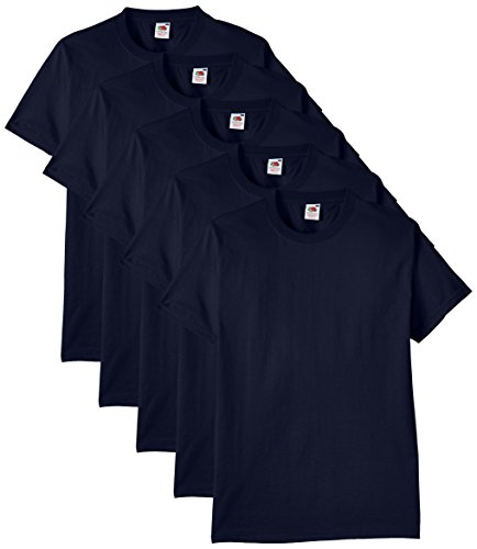 Fruit of the Loom Herren Regular Fit T-Shirt Heavy Cotton Tee Shirt 5 pack, Blau (Navy), XL