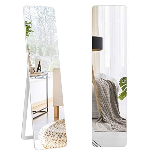 "Tangkula Full Length Floor Mirror with Stand, Free Standing or Wall Mounted Mirror, Full Body Mirror with Solid Wood Frame, Standing Hanging or Leaning Dressing Mirror for Home Office, 63"" x 14.5"""
