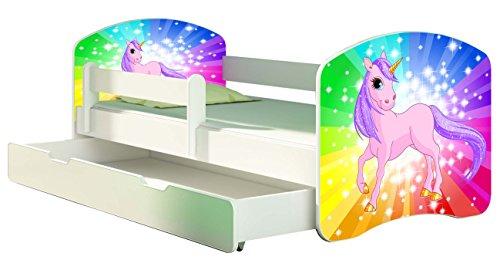 Letto per bambino Cameretta per bambino con materasso Cassetto ACMA II (18 Il pony arcobaleno, 180x80 + Cassetto)