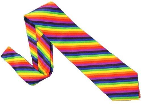 Elegance1234 Cravate arc-en-ciel 100% polyester
