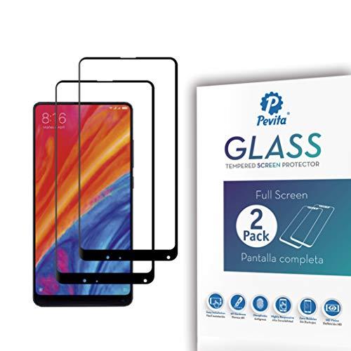 Pevita Protector de Pantalla para Xiaomi Mi Mix 2S. [2 Packs]. Full Screen Dureza 9H, Sin Burbujas, Fácil Instalación. Protector de Pantalla de Cristal Templado Premium para Xiaomi Mi Mix 2S