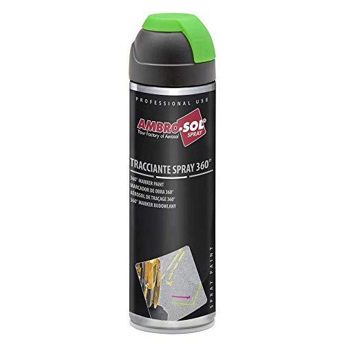 Ambro-Sol V403GIALLOP Tracciante Marker Spray 360°, per Uso Professionale e Domestico, per Asfalti, Muri e Legno, Essiccazione Rapida, Bomboletta Spray in Banda Stagnata Riciclabile 500 ml, Giallo