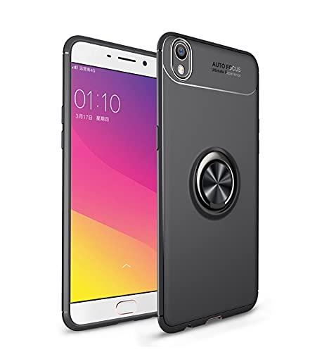 ZHIWEI Das tragbare Handy Tasche Schutzhülle für Oppo R9 Plus Fall Weiche TPU Stoßfest Hülle 360 Grad rotierender Metall Magnetring Kickstand Wärmeableitung Anti-Fall-Schutzhülle (Color : Black)