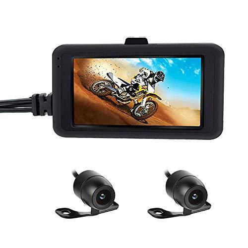 Best4U Cámara de Motocicleta Dash CAM 1080p Dual Lente grabadora de vídeo Motocicleta Cubierta Deportes cámara de acción 3' LCD visualización ángulo de visión Nocturna de 170 Grados