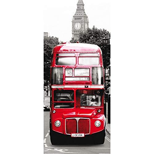 Tür Fototapete Türtapete 91x211 cm Türfolie selbstklebend o. Vlies PREMIUM PLUS - Tür Türposter Türpanel Foto Tapete Bild - London Bus - no. 286, Material:91x211cm Folie (selbstkl.)