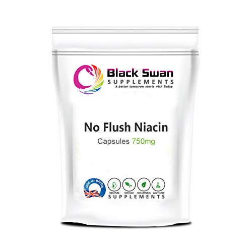 Black Swan No Flush Niacin 750mg Capsules with Anti-inflammatory Properties Healthy Skin Nervous System Support Vegan Gluten Free Support Energy Level (120 Caps)