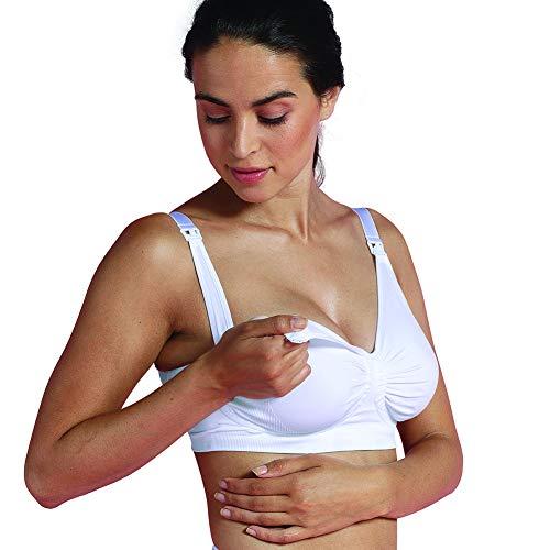 Carriwell GelWire Still-BH, Nahtloser Still- und Schwangerschafts-BH, breite Träger für besseren Halt, weicher Gel-Bügel, mit BH-Verlängerung, weiß, Größe: M