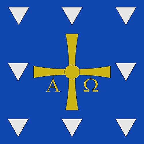 magFlags Bandera Large Cuadrada de proporción 1 1, de Azur una Cruz Patada de Oro de la Que penden Las Letras griegas «Alfa» y «Omega» de Oro acompañada de Ocho c