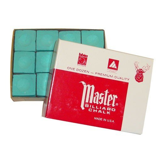 GamePoint, gessi da biliardo originali Master USA, confezione da 12 pezzi (blu/verde/rosso/grigio), verde