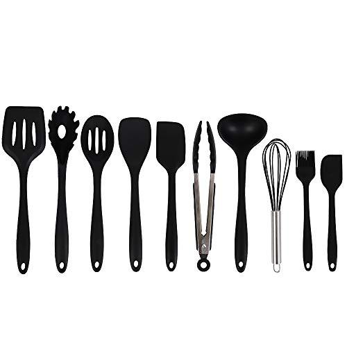 Newox Homespon Silikon Utensil Set 10 Stück Küchenhelfer Kochen Kochgeschirr BBQ Tools (Schwarz)