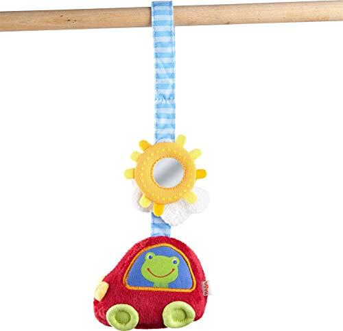 HABA 304286 - Hängefigur Auto, Babyspielzeug aus Textil mit Spiegel-Effekt, ideal für Baby-Schale, Buggy und Spielbogen