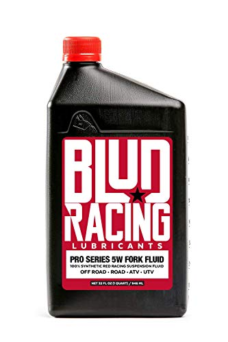 Blud Racing Pro Series 5W Fork Fluid 100% Synthetic RED Racing Suspension Fluid for Off-Road and Street Bike Suspensions - 1 Quart