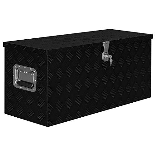 pedkit Aluminium Alu-Box Transportkiste Staukasten Werkzeugkasten Kiste, Glänzendes Schwarz 90,5×35×40 cm