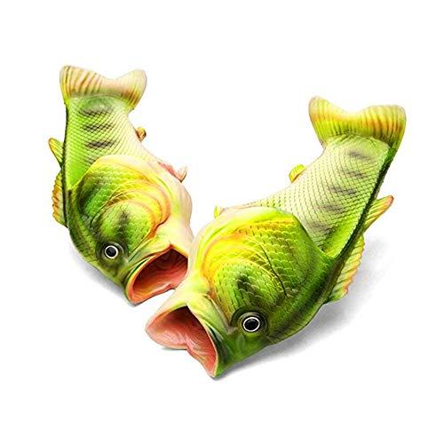 Unisex Fish Slippers, bass Sandals, Animal Slippers Animal Fish Slippers, (Green, 10)