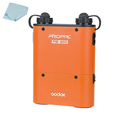 Godox 4500mAh PB960 Flash Power Battery Pack with Dual Output for Godox AD360 AD180 Flash Canon 580EX II, 580EX, 550EX, Nikon SB-900 SB-800 SB-80DX, Sony HVL-F58AM HVL-F43AM + Mcoplus Cloth