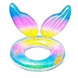 KUNANG Bouée de natation gonflable pour l'été, 85,2 cm avec couleurs arc-en-ciel pour la plage, la piscine, les jouets pour enfants, les tout-petits, les adultes (couleurs arc-en-ciel 2)