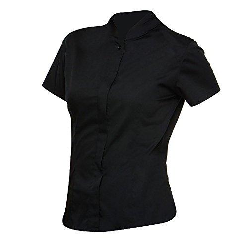 Unbekannt Bargear Damen Bluse mit Stehkragen, Kurzarm (38 DE) (Schwarz)