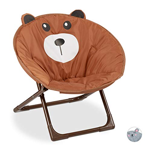 Relaxdays Moonchair kinderen, inklapbare maanstoel, voor binnen en buiten, kinderklapstoel, beer, HxBxD: 48 x 51 x 48 cm, bruin, 1 stuk