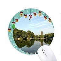 レイクウィルツリータワー 圆形防滑橡胶圣诞铃铛鼠标垫