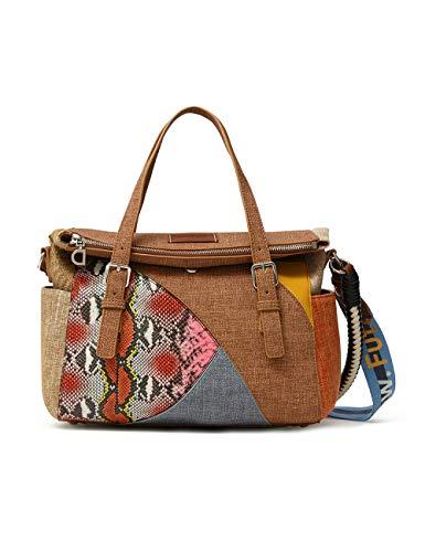 Desigual Fabric Hand Bag, Borsa a Mano. Donna, Bianco, U
