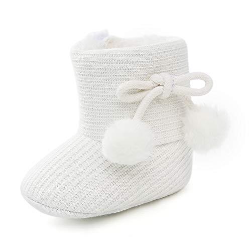 LACOFIA Baby Mädchen Weicher Sohle Winterstiefel Kleinkind Wärme Fleece Klettverschluss Hausschuhe Krabbelschuhe Weiß 3-6 Monate