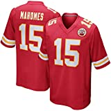 Maillot de Football américain Patrick Mahomes # 15 Kansas City Chiefs Rugby Jersey, Manches Courtes Sport Top T-Shirt Jersey-red-2XL