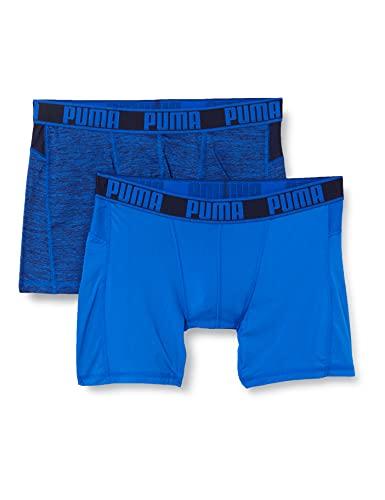 PUMA Mens Active Grizzly Melange Men's Boxers (2 Pack) Boxer Shorts, Blue Combo, M