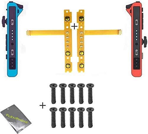 FLEXIPHONE pour Manette Nintendo Switch Joy-Con NS NX Nappes Droit et Gauche des Boutons Touches SL SR Sync Câble Flexible de Rechange + 10 Vis étoile Tri-Wing