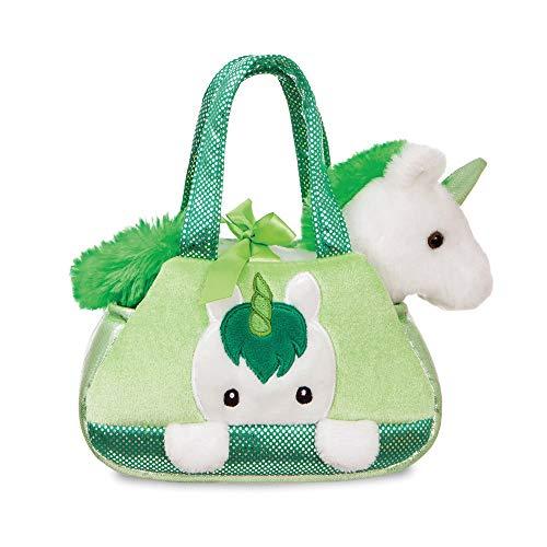 Aurora Fancy Pals, Iers eenhoorn, pluche, in handtas, wit en groen, 20,3 cm, cadeau-idee