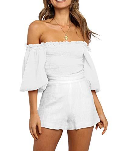 R.Vivimos Women's Summer Linen Short Sleeves Off The Shoulder Crop Tops Ruffle Slim Blouses (Small, White)
