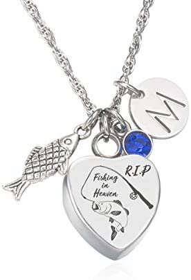 Fishing in Heaven Urn Necklace for Ashes Fisherman Outdoorsman Remembrance Birthstone Necklace product image
